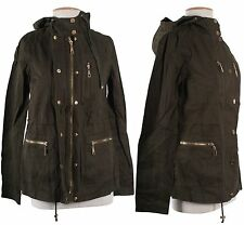 Vintage Army Green Drawstring Hooded Military Trench Jacket Womens Coat Jumper