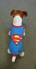 PET CLOTHES DOG TSHIRT SUPERMAN / SUPERDOG COTTON TEE ALL SIZES EMBROIDERED