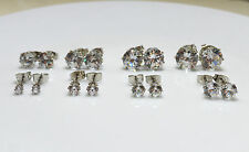 18K W Gold Plated Clear Round Cubic Zirconia CZ Crystal Stud Earrings Men/Women