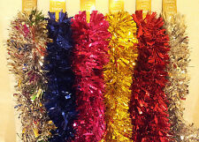 8ft 2.5m CHRISTMAS LUXURY CHUNKY TINSEL TREE DECORATION 6 Colour 100mm wide DEAL