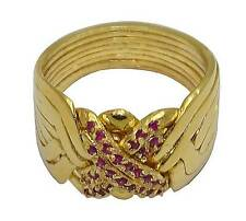 8-BAND PUZZLE RING 18K YELLOW GOLD OVER STERLING SILVER with RUBY  #2573-GR