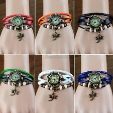 7 Colors Quartz Fashion Weave Wrap Around Leather Bracelet Woman Wrist Watch GT5