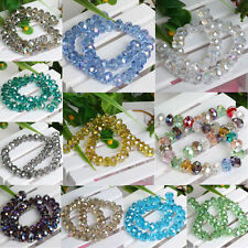 BUlk 80pcs 8x6mm Faceted Glass Crystal Loose Beads Spacer Rondelle Findings