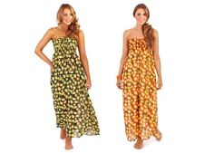 WOMENS CHIFFON STRAPLESS MAXI DRESS BEACHWEAR COVER UP KAFTAN LADIES SIZE 8- 14
