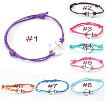 Tibetan Silver Anchor Colored Cotton Waxed Cord Friendship Love Wish Bracelet
