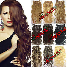 Hot Any color&length Wavy Clip in Remy Real Human Hair Extensions 100% Body Wave
