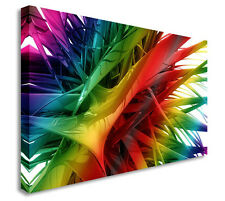 Framed Contemporary Abstract RAINBOW SPIKES Wall Art Canvas Print