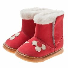 LITTLE BLUE LAMB SQ-C5804 Red Girl Fleece Lined Squeaky Boot Shoe 3-7 NEW