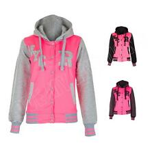 New Womens Ladies Varsity R NYC College Pink Baseball Jacket Hoodie Size M L XL