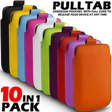 10 IN 1 PACK PULL TAB LEATHER POUCH CASE COVER FOR VARIOUS HTC PHONES