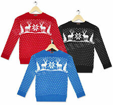 Childrens Boy Girls Christmas Xmas Retro Novelty Fairisle Rudolf Snowman Jumper
