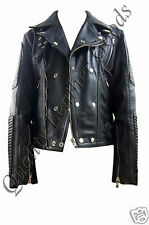 Genuine Handmade Mens Biker Quilted Premium Soft Leather Jacket Stylish Design