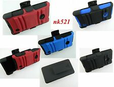 RUGGED HYBRID Kickstand CASE COVER+BELT CLIP HOLSTER For Nokia Lumia 521