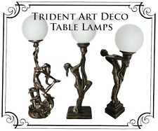 Trident Art Deco Table Lamp Antique Bronzed With White Glass Shade 60cm