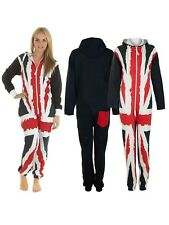 New Ladies Womens UK Flag Union Jack Onesie Fleece Hoodie All In One Jumpsuit M