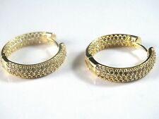 NEW MULTIVARIATION GOLD FINISH WOMENS/LADIES ROUND HOOP EARRINGS+FREE SHIPPING