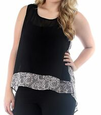 WOMENS PLUS SIZE CLOTHING SHEER BLACK CHIFFON TUNIC TOP WITH PINK PRINT TRIM