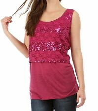WOMENS PLUS SIZE CLOTHING ROSE PINK SEQUIN AND LACE LAYERED TUNIC TOP