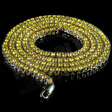 14k Gold Yellow Canary Lemonade CZ Iced Out 1 Row Tennis Chain Hip Hop Necklace
