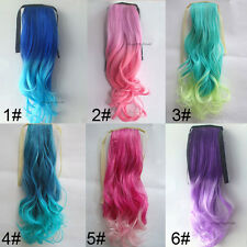 Fashion Long Wavy Party Cosplay Colorful Ponytails Clip-in Hair ExtensionsJAP25