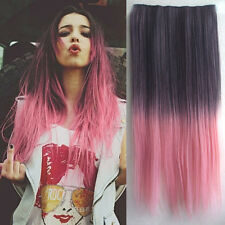 Gradient Colorful Cosplay Long Straight Hairpiece Clip-in Hair Extensions JAP27