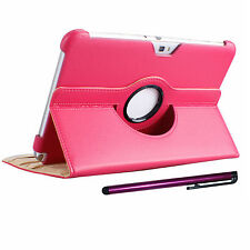 Rotating PU leather case Stylus Pen for Samsung Galaxy Note N8000 N8013 Cover