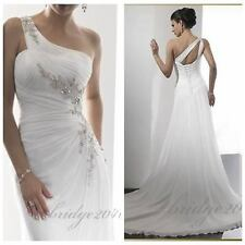 New  One Shoulder Wedding Dress Gorgeous Formal Bridal Gown Custom Sexy Fashion