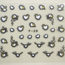 3D Black White Flower Heart Nail Art Stickers Decals For Nail Tips Decoration