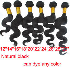 "DIY 100g Brazilian 100% Human Hair Extensions Body Wave 12""- 30"" Natural Black"