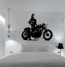 Bike - Girl Babe Hog Motorcycle Bedroom Free Squeegee! Wall Art Decal / Sticker
