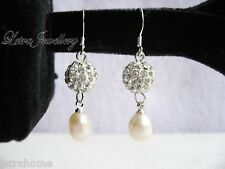 925 Sterling Silver Stamped Real Freshwater Pearl Shamballa Beads Drop Earrings