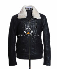 Brayden Black Mens Aviator Bomber Fur Collar Winter Leather Flying Jacket