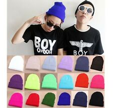 Unisex Men Women Solid Color Warm Cuff Plain Knit Ski Long Beanie Skull Cap Hat