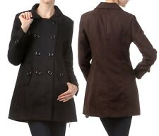 Womens Double Breasted Pea Coat Mid Length Button Down Trench Coat Jacket