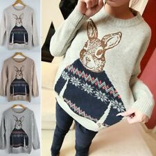 NEW Women Knitted Animal Rabbit Print Casual Loose Pullover Sweater Outwear Tops