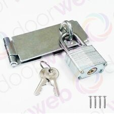 Hasp and Staple with Padlock Pack Gate Door Shed Latch Lock Zinc Various Sizes