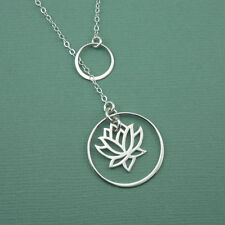 Lotus Lariat Necklace 925 solid sterling silver handmade jewelry pendant gift