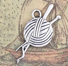 New Antique Silver Ball of Yarn and Needles Charms Pendants 25X11mm DIY