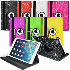 360 DEGREE ROTATE BLING DIAMOND BOOK WALLET LEATHER CASE FOR APPLE IPAD AIR 5