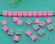 2PCs Pink Name Initials Letter Cube Charm Beads For European Charm Bracelets