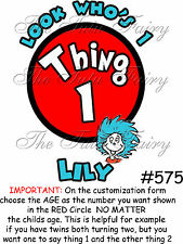 thing 1 2 one two birthday girl boy tshirt shirt t custom name age personalized