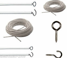 Any Length - Net Curtain Wire - Free Hooks & Eyes- From -Free Hooks & Eyes