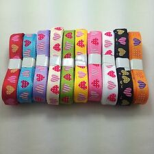 "NEW ! 3/8"" (9 mm) Printed Fancy lot hearts Grosgrain ribbon 5/50 yards U pick"