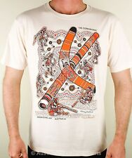 Corroboree Adults T-Shirt (Bone), Aboriginal Art Didgeridoo & Boomerang! NEW