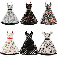 Vintage 50's Women's Swing rockabilly pinup punk Evening Dress Sleeveless Cotton