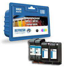 4 PACK REMANUFACTURED HP 45 / HP 78 HIGH CAPACITY INK CARTRIDGES 2 FULL SETS