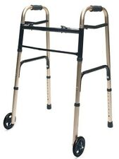 "Lumex Everyday Dual Release Easy Folding Walker 5"" Wheels Adult - Red Gold Blue"