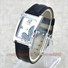 NEW Fashion Rectangular Face Diamond Dial Leather Band Women Quartz Wrist Watch