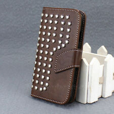 Hot Sale Leather Wallet Studded Hard Case Cover For Samsung Galaxy S4 SIV I9500