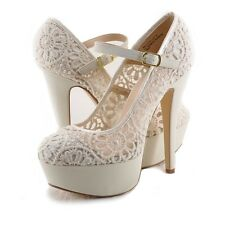 Women's Shoes Anne Michelle Realove 07 Lace Mary Jane Platforms Beige *New*
